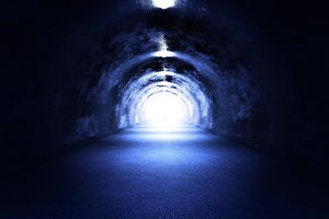 Tunnel Light - 3D Render. Cool Blue Light. The Road to the Light ( Near Death Experience? )